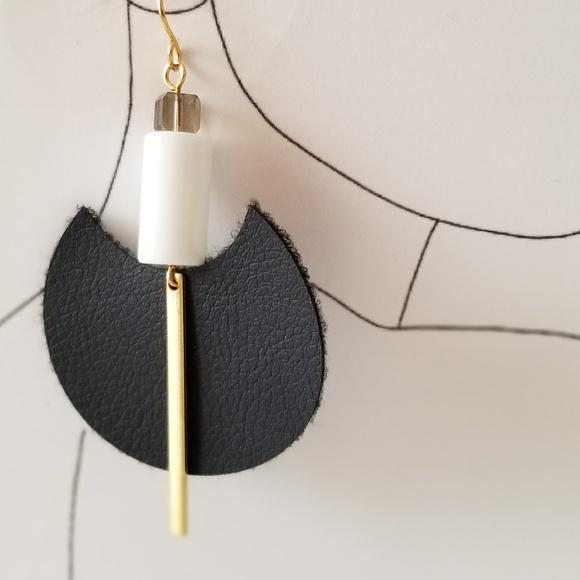 Jewelry - Geometric Faux Leather Earrings